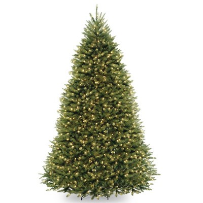 10ft National Tree Company Pre-Lit Dunhill Fir Hinged Full Artificial Tree with 1200 Low Voltage Dual LED Lights with 9 Function Foot-switch
