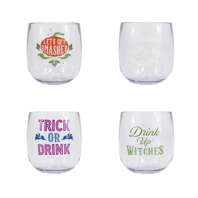 Halloween Humor Stemless Wine Glasses 4pk - Hyde and Eek! Boutique™
