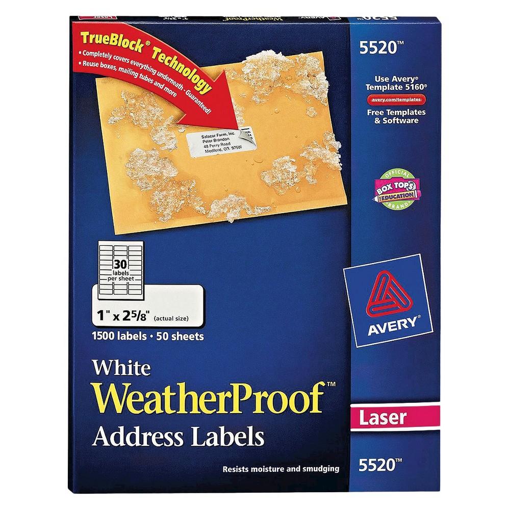 Avery 1 x 2-5/8 Weatherproof Laser Shipping Labels - White (1500 pk)