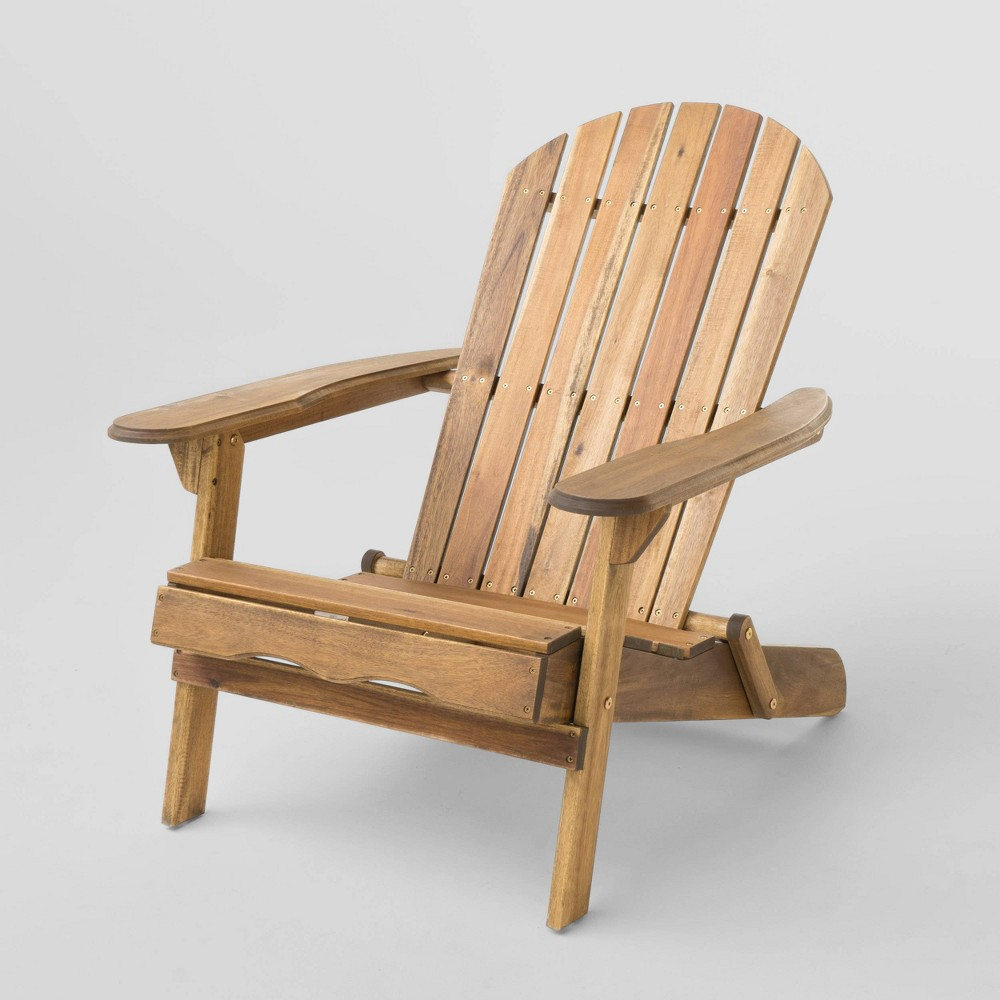 Hanlee Folding Wood Adirondack Chair - Natural Stained - Christopher Knight Home