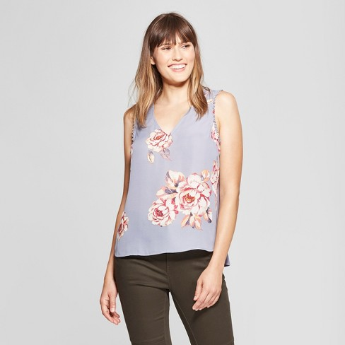 Women's Floral Print V-Neck Tank - A New Day™ Blue - image 1 of 3