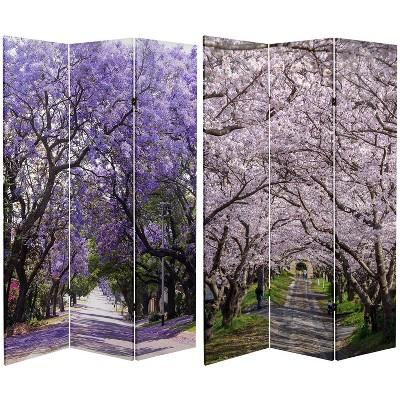"""6"""" Double Sided Lavender Road Canvas Room Divider Purple - Oriental Furniture"""