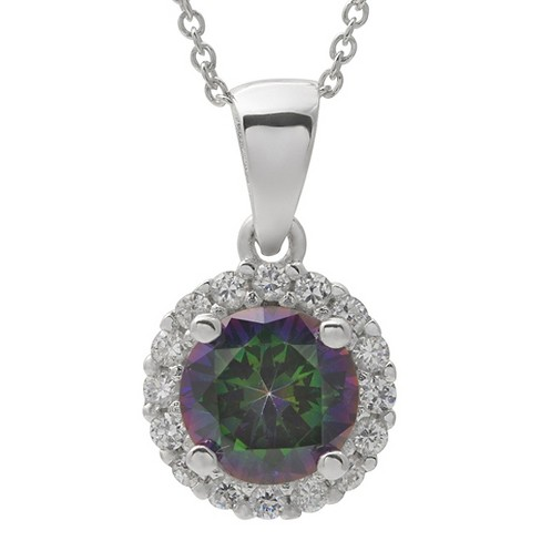 "1/2 CT. T.W. Round-cut CZ Basket Set Pendant Necklace in Sterling Silver - Green (18"") - image 1 of 2"