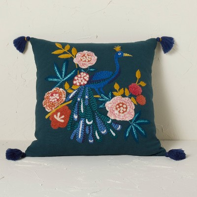 Peacock Embroidered Square Throw Pillow Teal - Opalhouse™ designed with Jungalow™