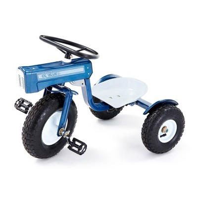 Tricam GCK-31 22 Inch Kids Steel Constructed Ol Blue Tractor Toy Beginner Tricycle with 3 Position Adjustable Seat and Pneumatic Wheels