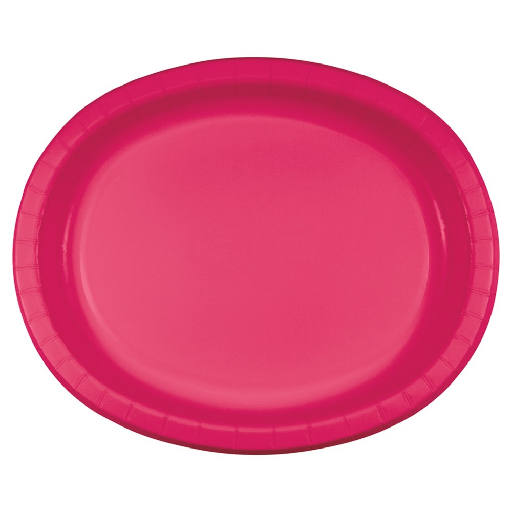 Best Shopping Hot Magenta Pink 10 X 12 Oval Platters 8ct
