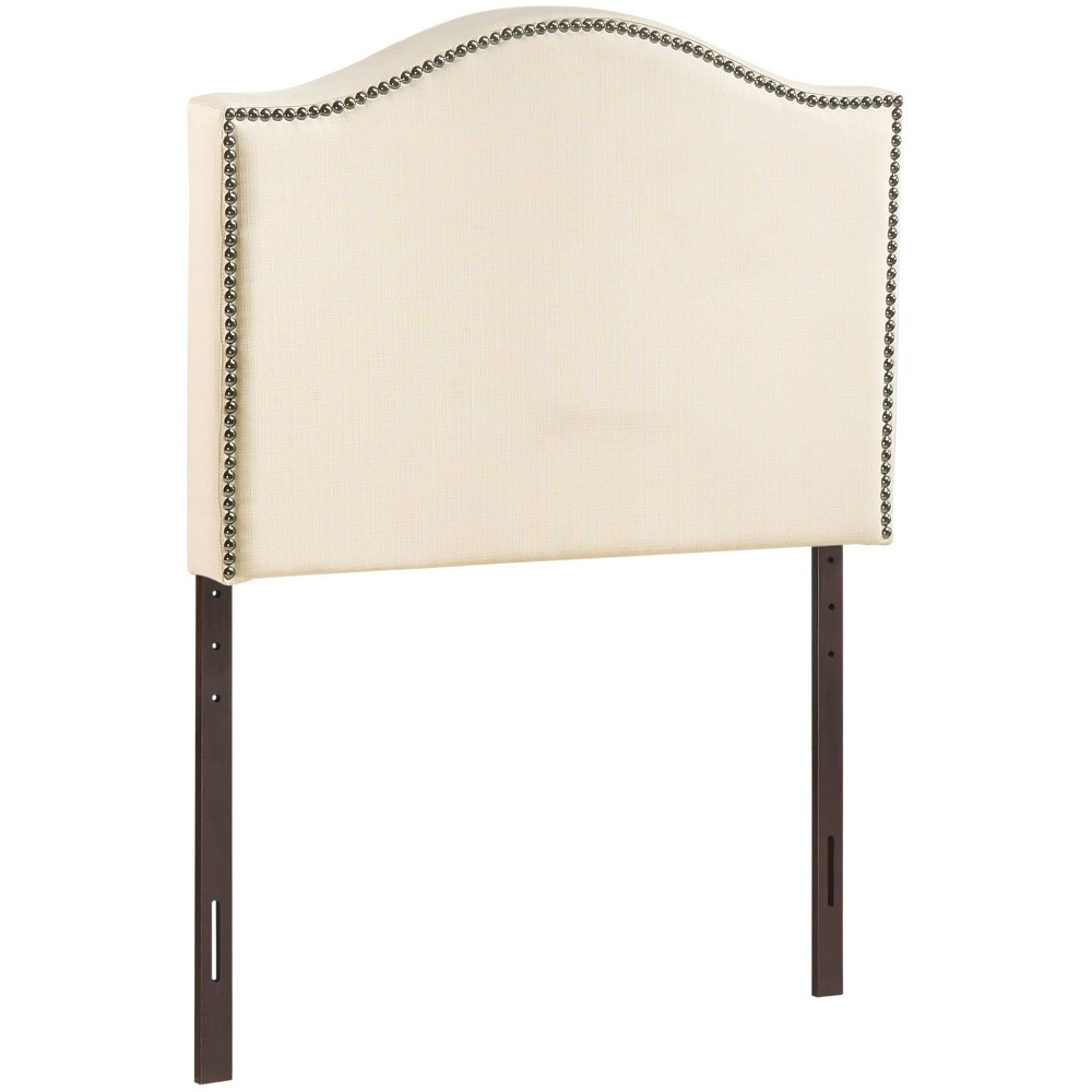 Curl Twin Nailhead Upholstered Headboard Ivory - Modway