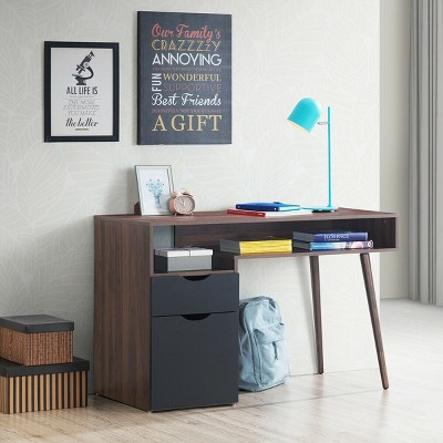 Costway Computer Desk PC Writing Table Study Workstation Drawer & Cabinet With Wood Legs