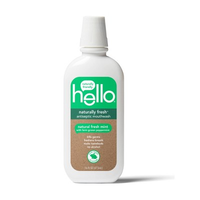 Hello Naturally Fresh Antiseptic Mouthwash , Alcohol Free And Vegan , 473ml by Hello