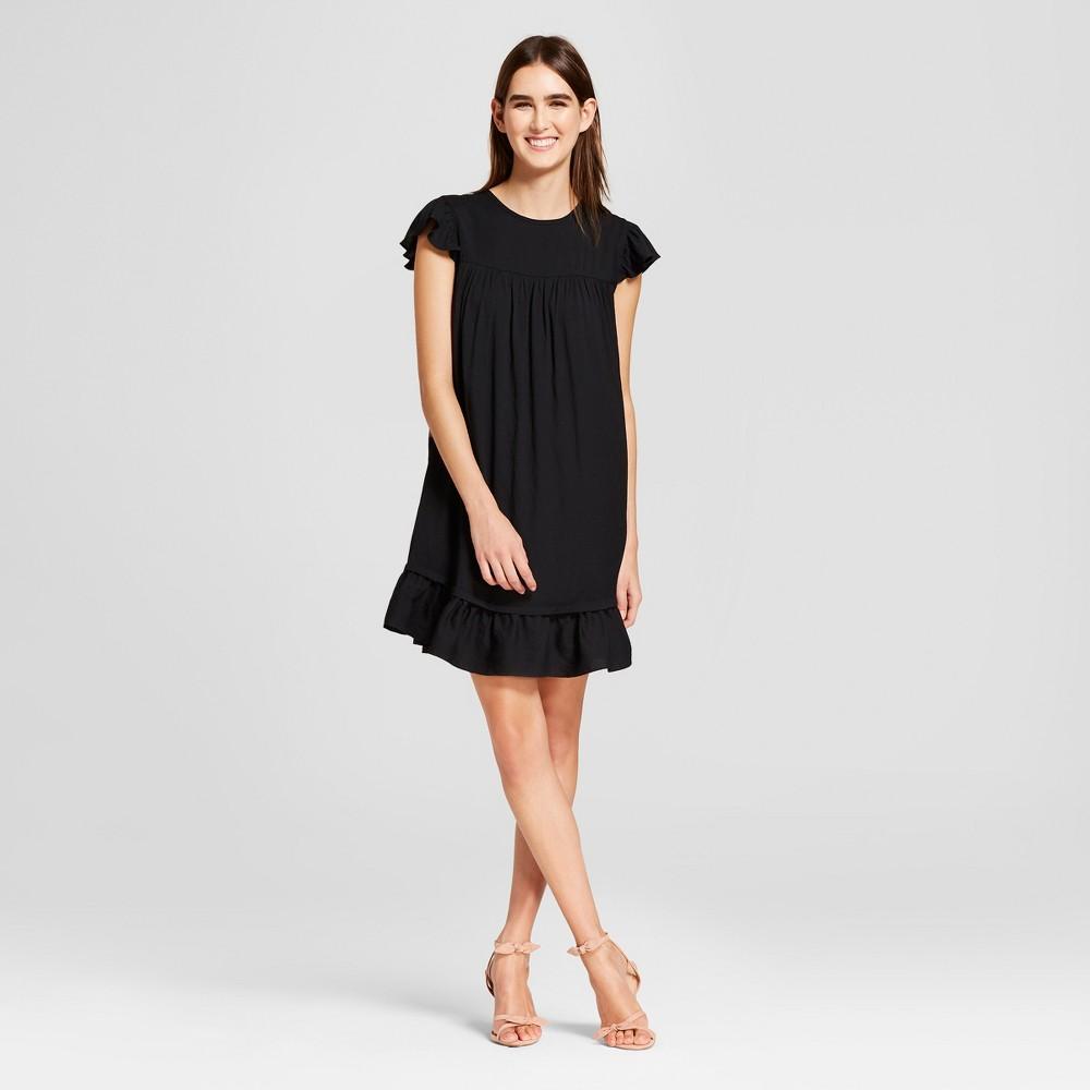Women's Short Sleeve Babydoll Mini Dress - Who What Wear Black S