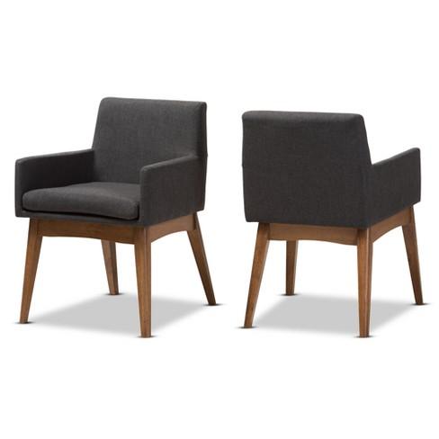 Set Of 2 Nexus Mid Century Modern Walnut Wood Fabric Upholstered Dining Armchair Baxton Studio Target