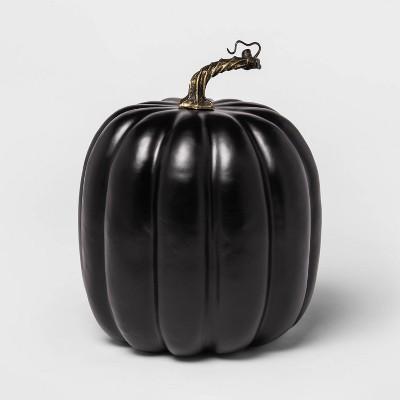 "10"" Solid Black Painted Halloween Decorative Pumpkin - Hyde & EEK! Boutique™"