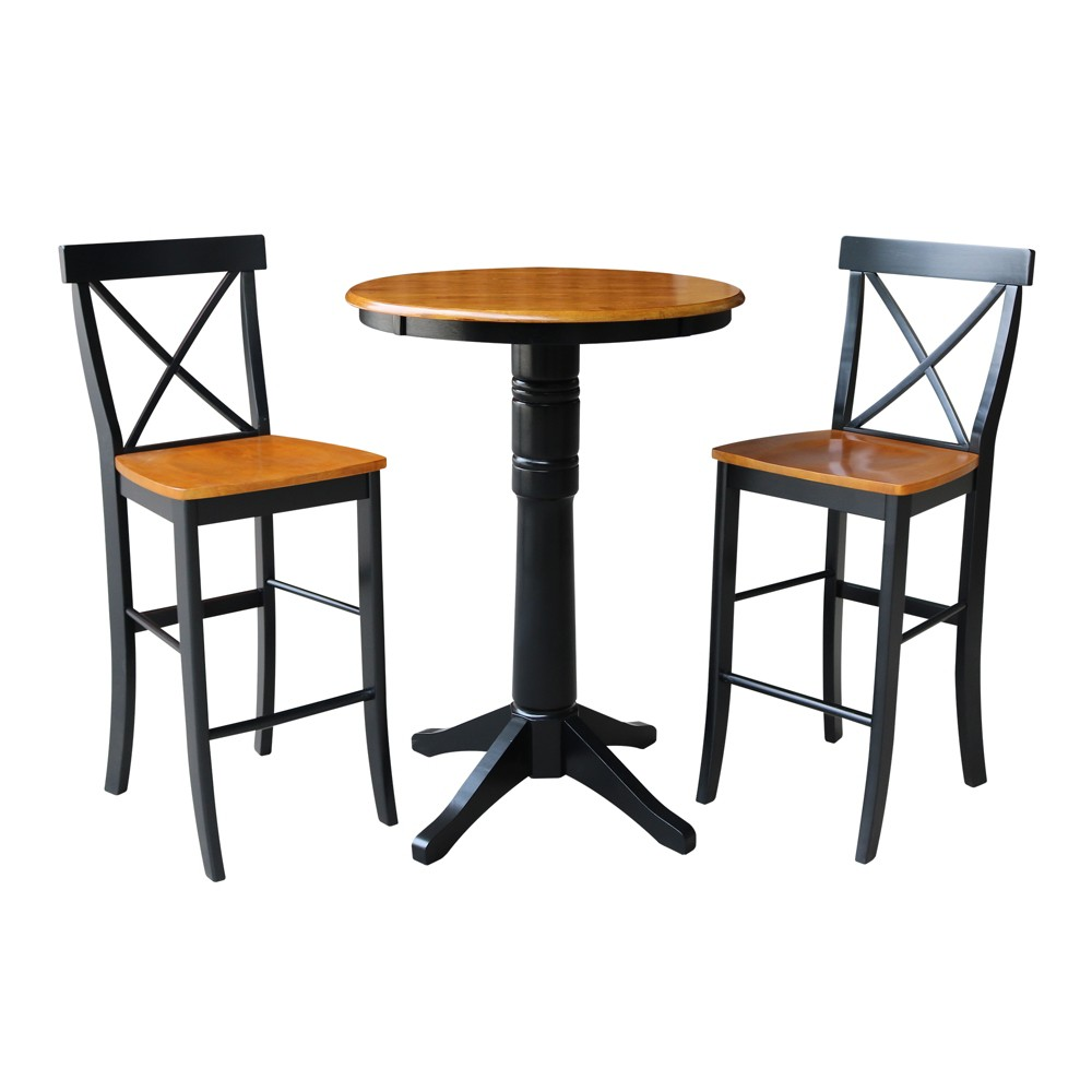 30 3pc Effie Round Pedestal Bar Height Table with 2 X Back Stools Set Black/Cherry - International Concepts, Multicolored