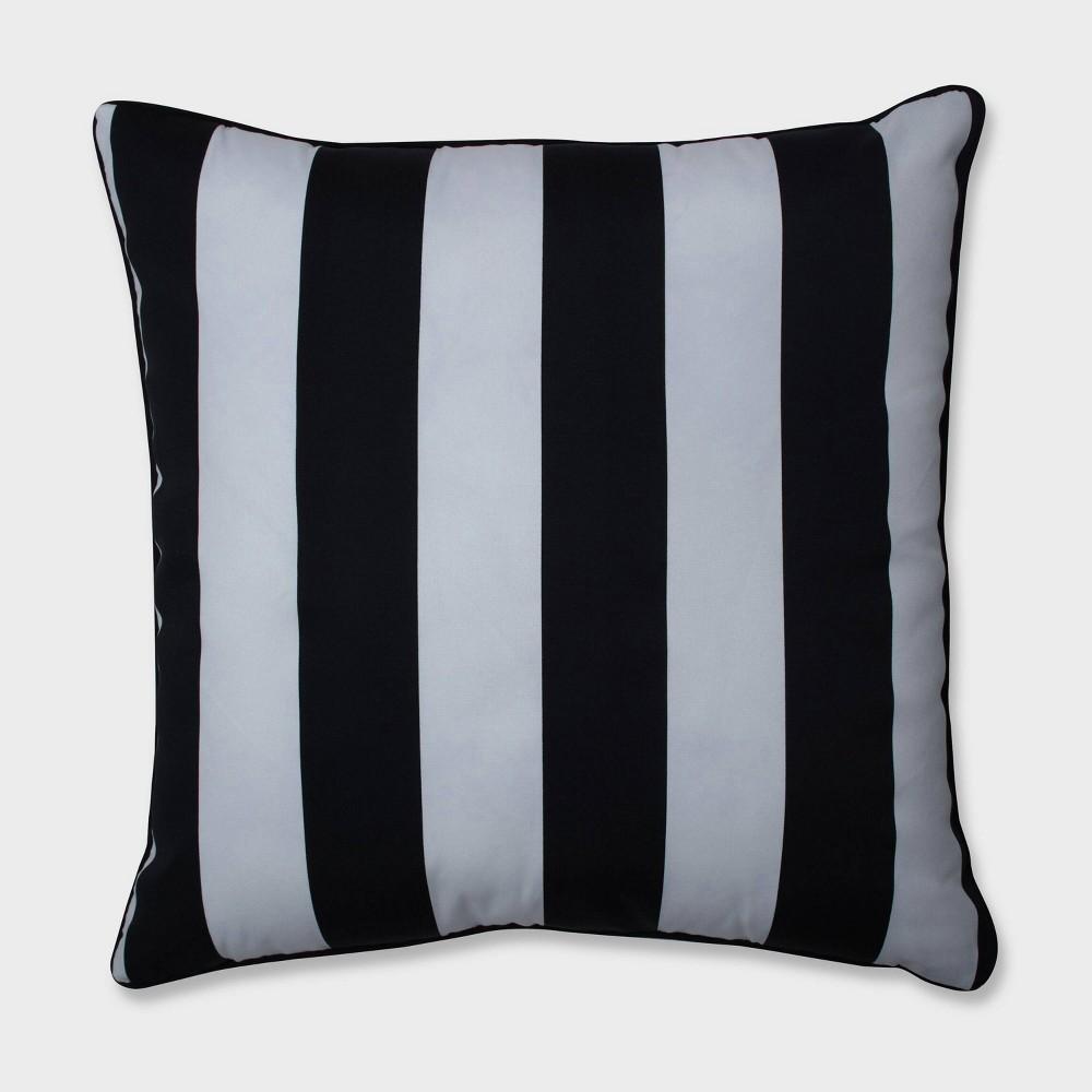 25 Cabana Stripe Floor Pillow Black - Pillow Perfect