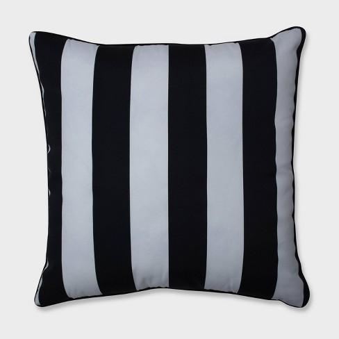 "25"" Cabana Stripe Floor Pillow Black - Pillow Perfect - image 1 of 3"
