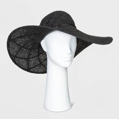 Women's Open Weave Floppy Hats - A New Day™ Black One Size