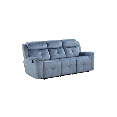 Fabric Upholstered Recliner Sofa with USB Charging Docks - Benzara