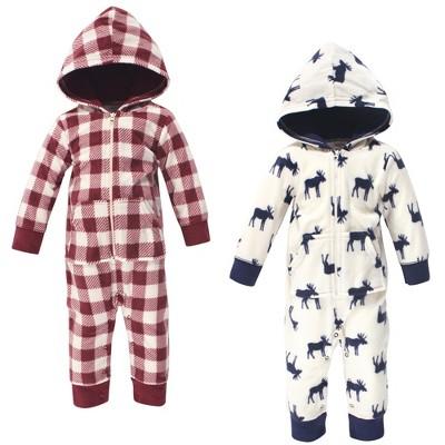 Little Treasure Baby Boy Fleece Jumpsuits and Coveralls 2pk, Moose
