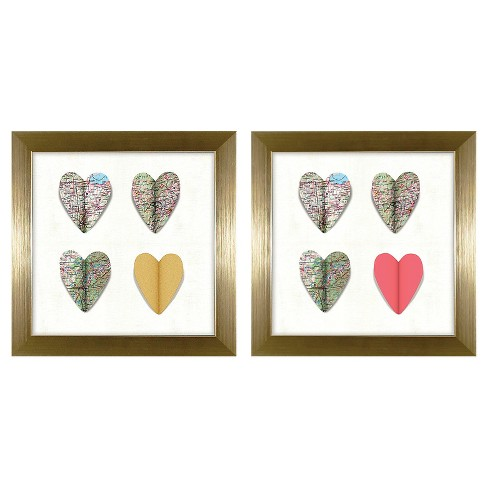 3D Paper Hearts Framed Wall Art - Gold (Set of 2) - image 1 of 1