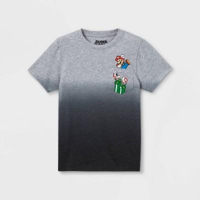 Boys' Nintendo Mario Jump Pocket Play Short Sleeve Graphic T-Shirt - Gray