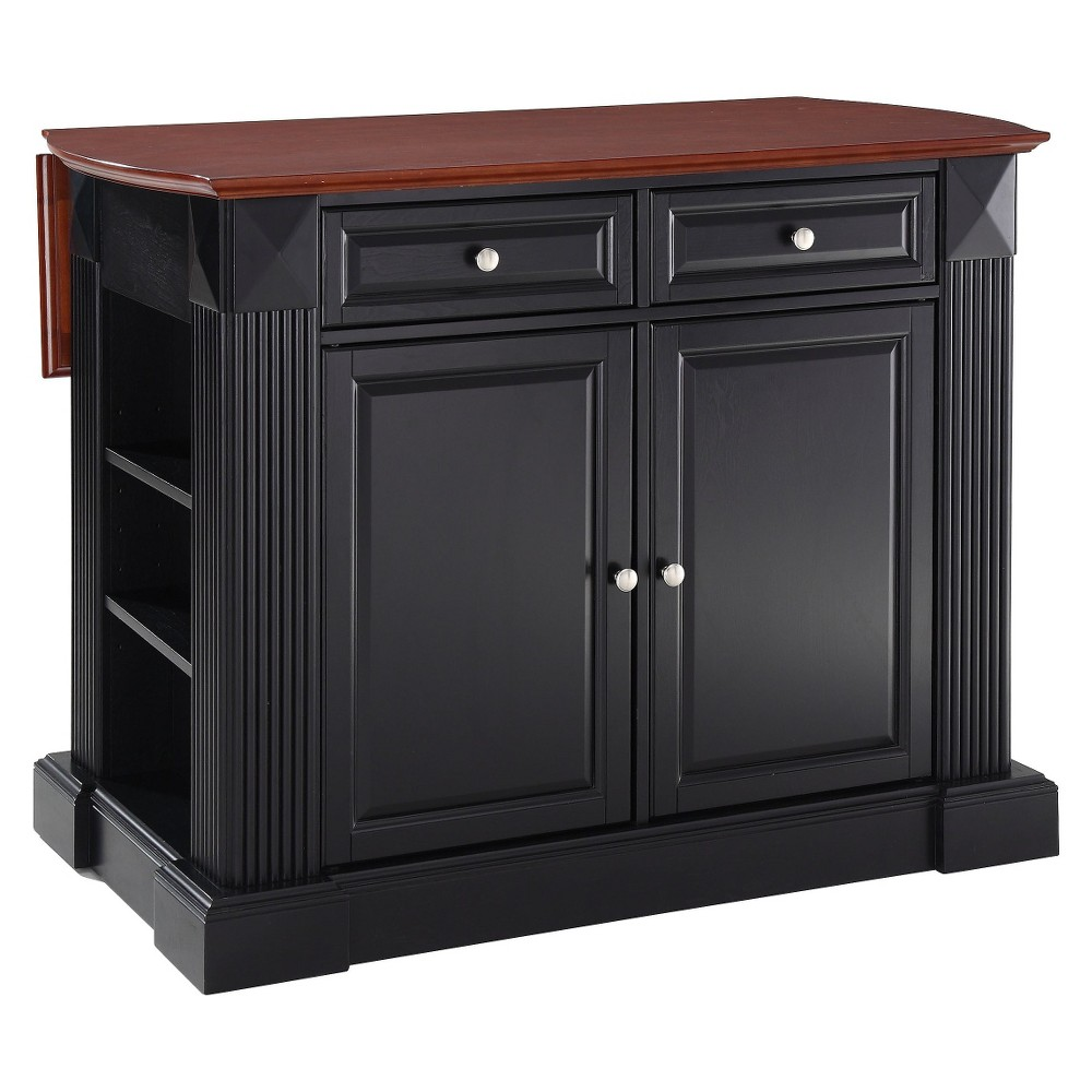 Drop Leaf Breakfast Bar Top Kitchen Island - Black - Crosley