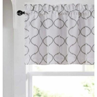 Kate Aurora Shabby Chic White & Gray Trellis Clover Rod Pocket Window Valance - 56 in. W x 15 in. L, White/Gray
