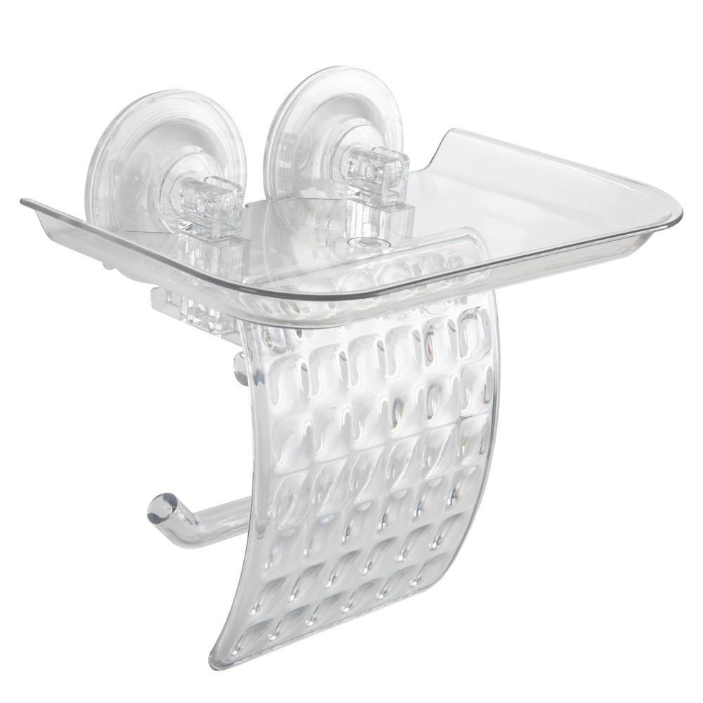 Image of Clear Power Lock Suction Toilet Paper & Phone Holder Clear - Bath Bliss