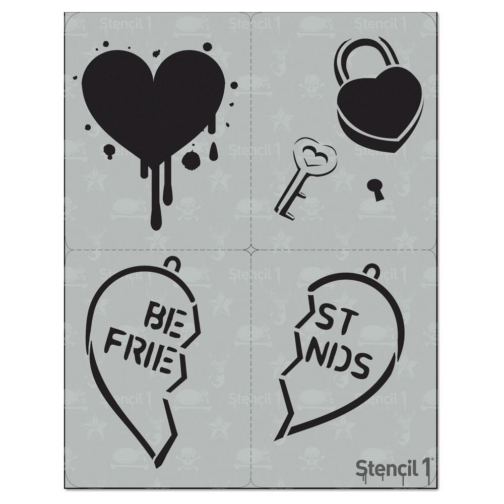 Stencil1 Heart Multipack 4ct Stencil 8 5 34 X 11 34