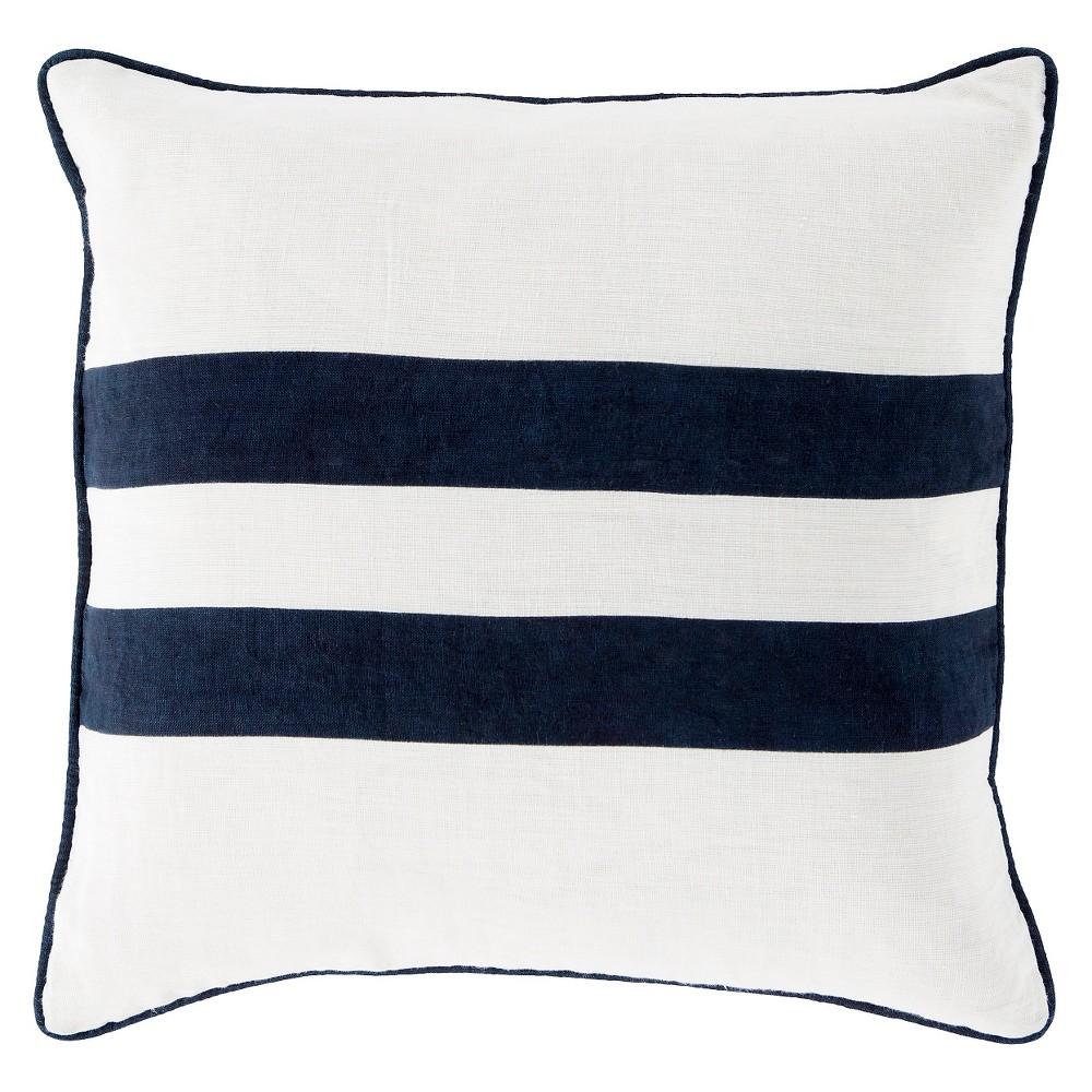 Navy (Blue) Glendower Stripe Throw Pillow 18