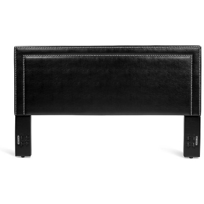 Glenwillow Home Baffin Faux Leather Upholstered Headboard in Black, Full/Queen Size
