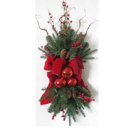 Christmas Swag.Arett Sales 34 Unlit Red Ribbon Ornaments And Berries Artificial Christmas Swag