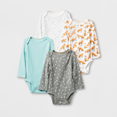 Baby 4pk Long Sleeve Bodysuits - Cloud Island™ 6-9M