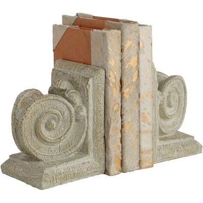"Dahlia Studios Ammonite Swirls 6 3/4"" High Matte Wood Finish 2-Piece Bookends Set"