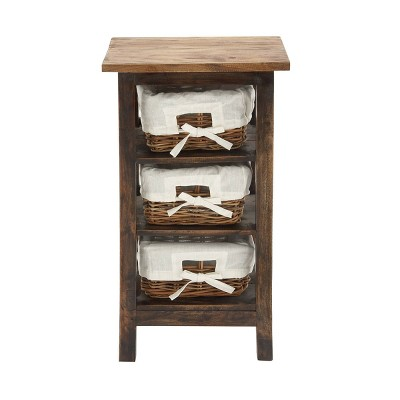 Small Wood Shelf with Basket Drawers Dark Brown - Olivia & May