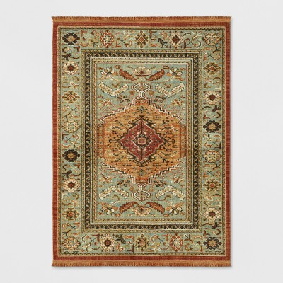Spiced Green Floral Woven Accent Rug 5'X7' - Threshold™