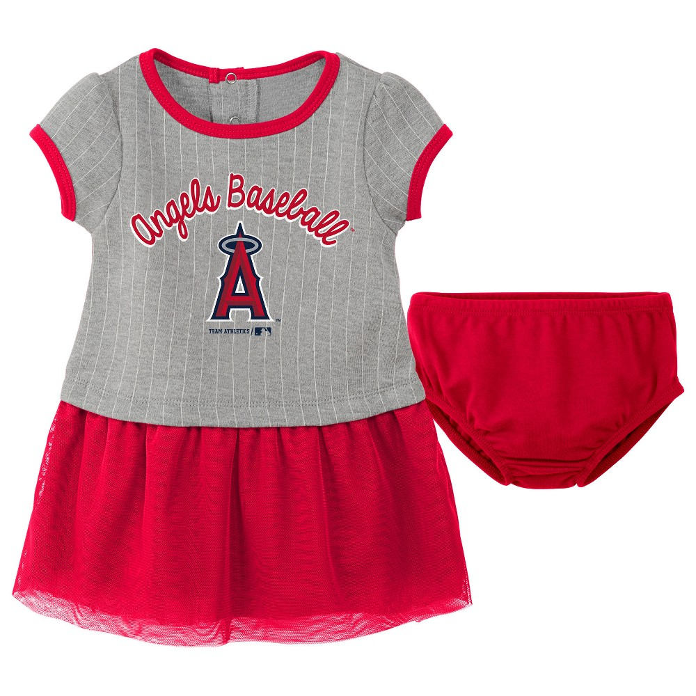 Los Angeles Angels Baby Girls' Pinstriped Short Sleeve Dress & Bloomer Set - Gray 18 M, Size: 18M