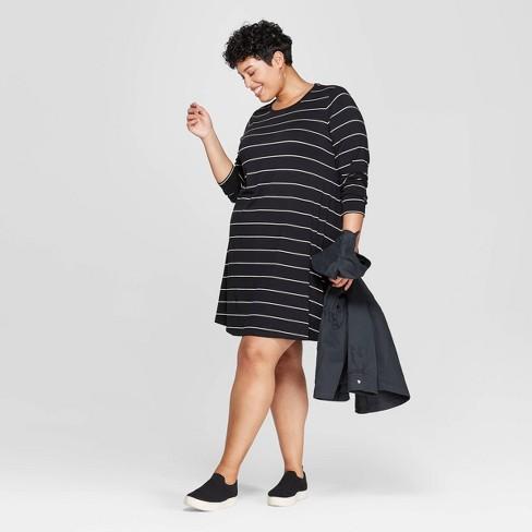 Women's Plus Size Striped Long Sleeve Scoop Neck Knit Swing Dress - Ava & Viv™ Black/White 1X - image 1 of 3