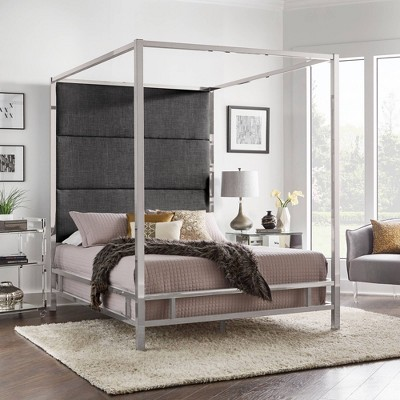 Evert Chrome Metal Canopy Bed With Panel Headboard   Inspire Q