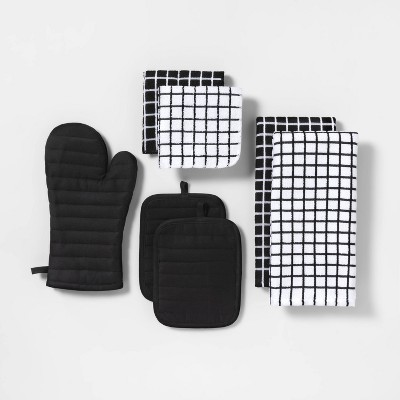 7pc Kitchen Textile Set Black - Room Essentials™