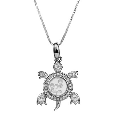 "Cubic Zirconia Turtle Floating Locket in Sterling Silver (18"")"