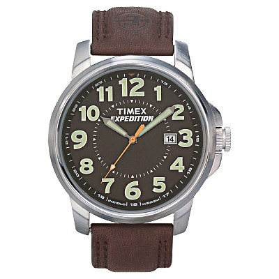 Men's Timex Expedition Field Watch with Leather Strap - Silver/Black/Brown T449219J