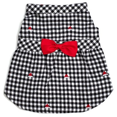 The Worthy Dog Flannel Check Plaid Embroidered Santa Hats Adjustable Pet Dress