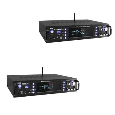 Pyle P3301BAT 3000 W Pro Wireless Multi Channel Bluetooth Amplifier Receiver with MP3/USB/SD/AUX Input, FM Radio, and Remote Control, Black (2 Pack)