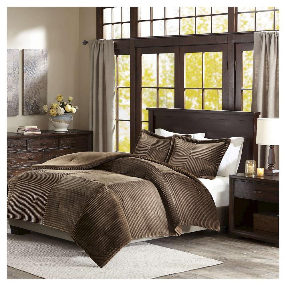 Top Williams Corduroy Plush Comforter Set (King California King) Brown - 3pc