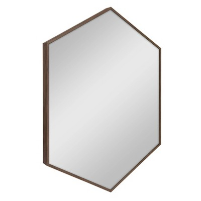 "22"" x 31"" Rhodes Framed Hexagon Wall Mirror Walnut Brown - Kate and Laurel"
