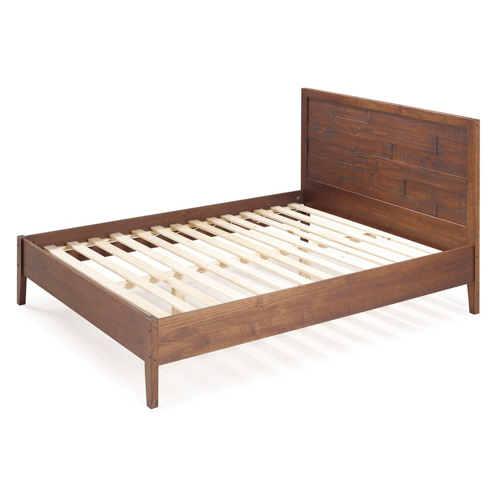 Queen Plank Distressed Solid Wood Bed Mahogany (Brown) - Saracina Home