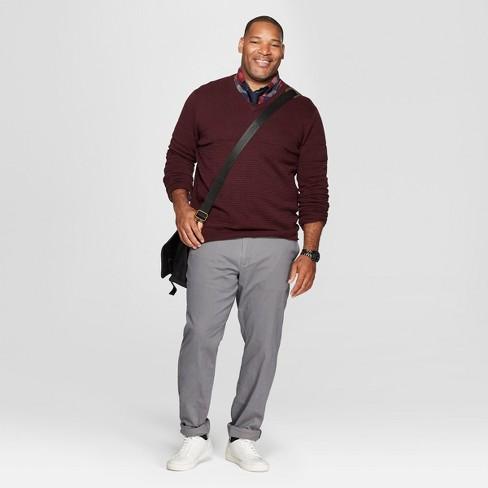 0bc67d0614 Men s Big   Tall Long Sleeve V-Neck Sweater - Goodfellow   Co™ Burgundy  Heather   Target