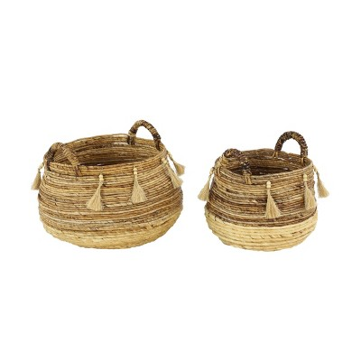 2pk Large Round Leaf Storage Baskets Natural/Beige