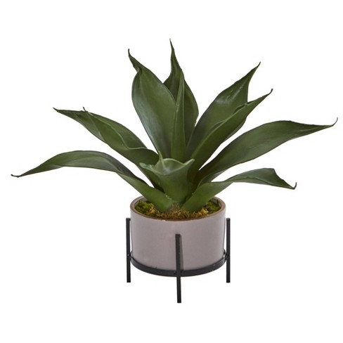 14 X 9 Artificial Agave Succulent In Decorative Planter Nearly Natural Target