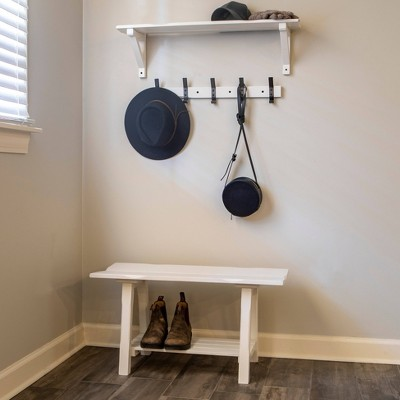 Theresa Entryway Bench with Shelf and Coat Rack Set White - Décor Therapy